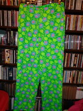 Lilly Pulitzer The Lilly Poly Pants Slacks Green w Blue Sig Floral 14 XS (bin51)