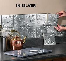 "Set of 14 Tin Silver Kitchen Backsplash Tiles w/ Adhesive Strips ea. 6""Sq"