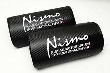2Pcs Nismo Black Carbon Fiber Embroidery Car Seat Neck Cushion Pillow Headrest