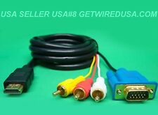 usa seller HDMI TO VGA 3-RCA RED WHITE YELLOW MONITOR ADAPTER TV CABLE COMPONENT