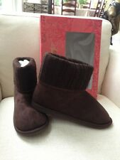 AMERICAN RAG WOMEN'S FLATS BOOTS SHOES CUFFED UP OR DOWN BUNNY SLIPPERS BROWN 10