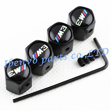 Anti-theft Black Metal Car Wheel Tyre Tire Stem Air Valve Cap For BMW M3 Models