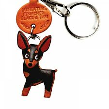 Miniature Pinscher Black&Tan Handmade 3D Dog Keychain VANCA Made in Japan #56783