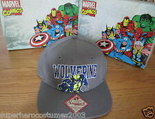 Wolverine X-Men Days of Future Past Adjustable Hat Marvel Comics Brand New -Gray