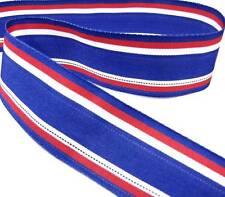 1 yd Patriotic Blue Red White Stripe Grosgrain Ribbon BUY 3YDS, GET 1YD FREE