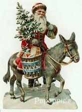 Vintage Christmas Fabric Block Santa Claus riding Donkey