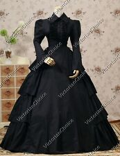 Victorian Gothic Dress Black Period Gown Steampunk Reenactment Clothing 007 XXL