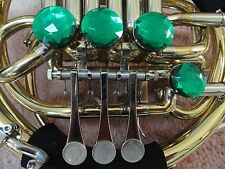 DOUBLE FRENCH HORN GREEN EMERALD DECORATOR ROTOR CAPS/TONE BOOSTERS, 4 PC. SET