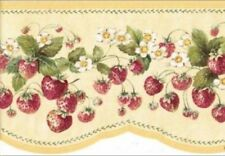 Wallpaper Border Country Red Strawberries on Butter Yellow Die Cut Bottom Edge