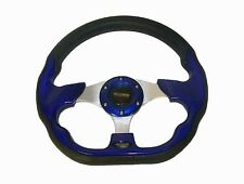 "Universal 320mm / 12.5"" Racing Sports Steering Wheel with Horn Button Blue #520"