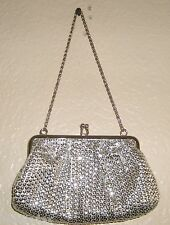 Womens LA REGALE Silver Sequins Clasp Hand Bag Evening Clutch Purse with Chain