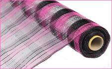 Deco Mesh Pink Black Silver Metallic Check 21 inch 10 yard roll re1059et NEW