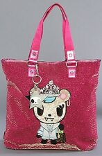 TOKIDOKI NEW SALINAS PINK METALLIC LARGE SHOPPING TOTE BAG T43 31232!