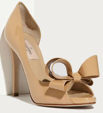 NEW Valentino Pump Bow d'Orsay Patent Leather Nude Size 37.5 $745 New with Box