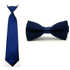 Baby Boy Kid Classic Satin Solid Color Bowtie Bow Tie Necktie Matching Set