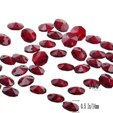 50pcs Red Crystal Chandelier Lamp Decor Parts 14mm Faceted Octagon Glass Beads