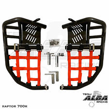 Yamaha Raptor 660  Nerf Bars  Pro Peg Heel Gaurds  Alba Racing  Black/Red
