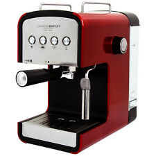 Charles Bentley 15 Bar Espresso And Cappuccino Maker One Or 2 Cups 850W - Red