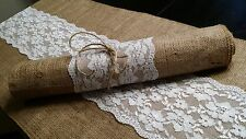 Shabby-Rustic-Chic Burlap and Lace Table Runners 12 inches wide 72 inches long
