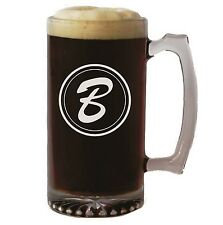 Personalized 25 oz. Etched Glass Beer Mug With Initial - Engraved Beer Gift