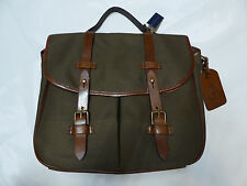 Polo RALPH LAUREN Canvas & Leather Messenger Laptop Brief BAG with Strap