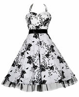 Ladies 50's Vintage Style White Floral H/Neck Jive Prom Swing Dress New  8 - 26