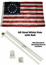2x3 2'x3' Historical Betsy Ross Flag White Pole Kit Gold Ball Top