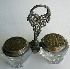 ANTIQUE GLASS SALT DIPS w/RARE NOVELTY WHITE METAL CAPS PEWTER HANDLE ORIENTAL