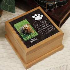 Personalized Dog Photo Memorial Urn Paw Prints on Our Hearts Wood Cremation Urn