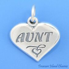 """AUNT"" HEART NIECE NEPHEW GIFT .925 Solid Sterling Silver Charm"