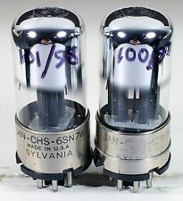 2 Sylvania JAN 6SN7W metal collar tubes test strong matched for tube amplifier