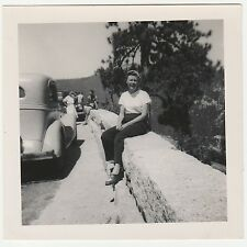 Square Vintage 50s b&w PHOTO Woman Sitting On Wall Nature Road Trip w/ Car