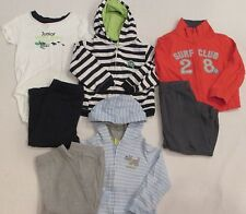 LOT OF 7 BOYS' CARTER'S LONG SLEEVE HOODIES, ONESIES, JACKETS, PANTS, 24 MONTHS