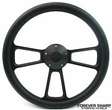"14"" Black Muscle Aluminum Steering Wheel w/ Adapter Boss 69-94 Chevy GM Columns"
