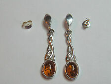 COGNAC AMBER CELTIC KNOT STERLING SILVER EARRINGS- NEW