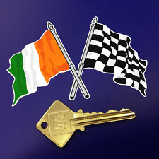 Crossed Irish & Chequered Flag sticker 100mm