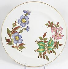 SET 12 LUNCHEON PLATES ANTIQUE HAND PAINTED FLORAL ROYAL WORCESTER CHINA W1701
