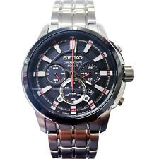 New Seiko SSC389 Chronograph Solar Stainless Black Dial Men's Watch New In Box