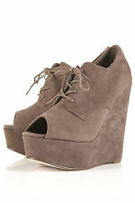 New with box TOPSHOP SICILY suede peep toe wedges shoes UK 3 in Taupe