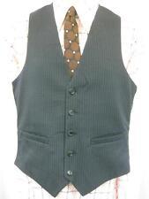 36R S - Vintage 70's Mens Navy Blue Pinstripe Waistcoat Suit Vest Smart Mod - U5