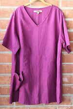 FLAX BOLD 2015 LINEN PLUS TREASURE TUNIC POCKET V SHIRT S/S TOP GRAPE JUICE 1G
