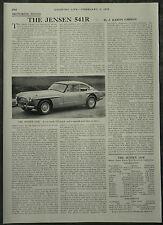 The Jensen 541R Review Specification Road Test 1958 1 Page Photo Article