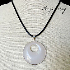 White Agate Go-go Donut Pendant on Black Leather Cord Necklace