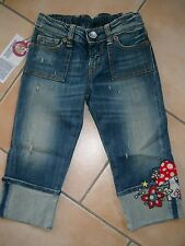 (837) Nolita Pocket Girls Capri Jeans Hose used look mit Pilz Stickerei gr.128