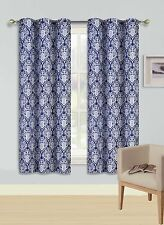 1 SET PRINTED PANEL 2 TONE FOAM LINED BLACKOUT WINDOW CURTAIN SINA NAVY BLUE 63""