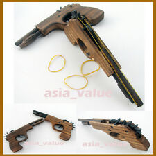Wooden Pistol Rubber Band Guns Semi-Automatic Multi Shot Elastic band gun