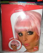 Pink short Bob Wig Fancy Dress Cosplay Hen Party Sci Fi Anime 60s Psychedelic