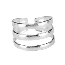 Solid .925 Sterling Silver Three Line Adjustable TOE RING (str127)