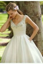 UK Vintage Tea Length White/Ivory Lace Wedding Dress Size 6-18