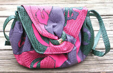 Vintage NAS Bag Purple Pink Green Faux Reptile Leather Skin Purse Handbag